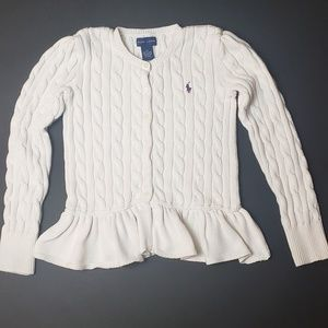 Polo Ralph Lauren Girls Peplum Cardigan